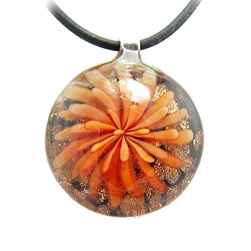 Orange Glass Pendant Murano (Orange Murano-style Glass Flower Pendant Rubber Cord Necklace, 16