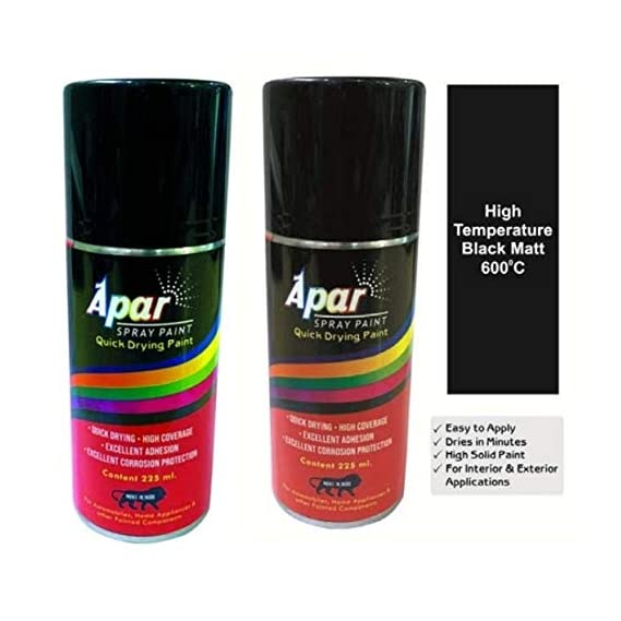Apar Heat Resistant Spray Paint Matt Black (225 ml)