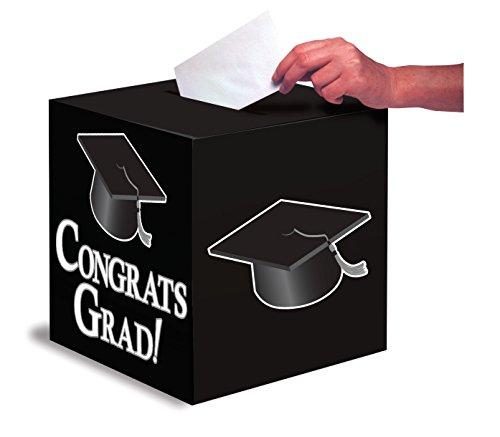 Creative Converting Congrats Grad Card Holder Box, Black