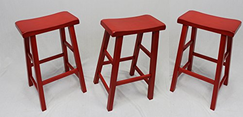 eHemco 29″ Heavy Duty Saddle Seat Bar Stool in Red, Set of 3