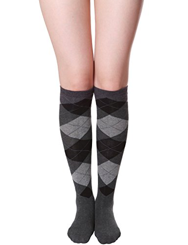 HASLRA Women's Argyle-Check Knee High Socks 1 Pairs (CHARCOAL)