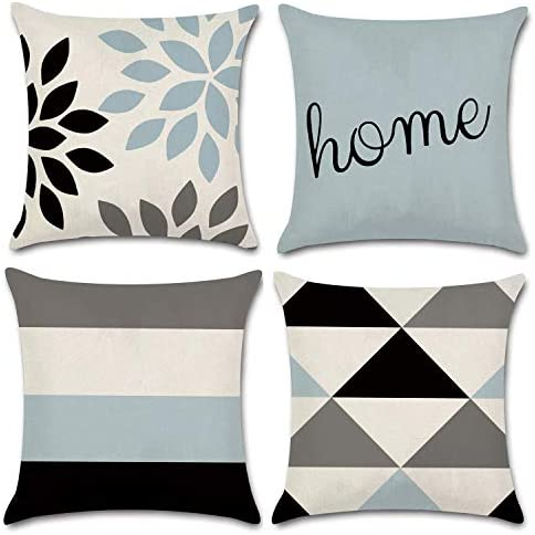 Jojusis Modern Geometric Throw Pillow Covers Cotton Linen Home Decor 18 X 18 Inch Set Of 4 Home Home Kitchen