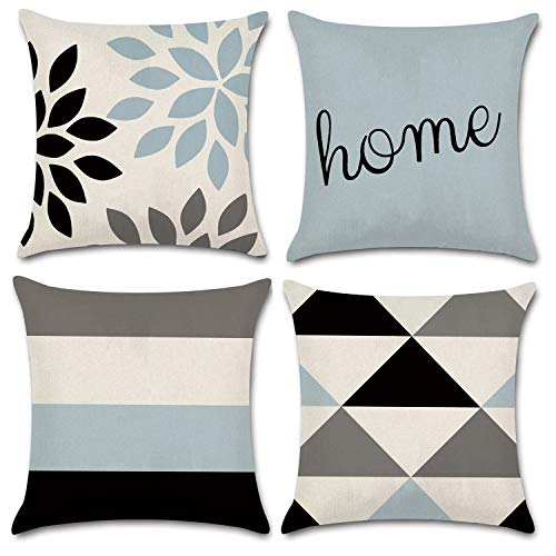 JOJUSIS Modern Geometric Throw Pillow Covers Cotton Linen Home Decor 18 x 18 inch Set of 4 Home (Pillows Decor)