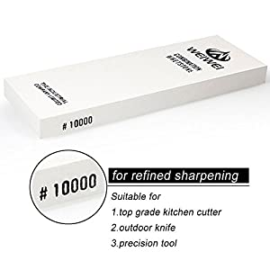 10000 Grit Knife Sharpener Sharpening Water Stone Corundum Whetstone for Razor Sharpening with Rubber Stone Holder