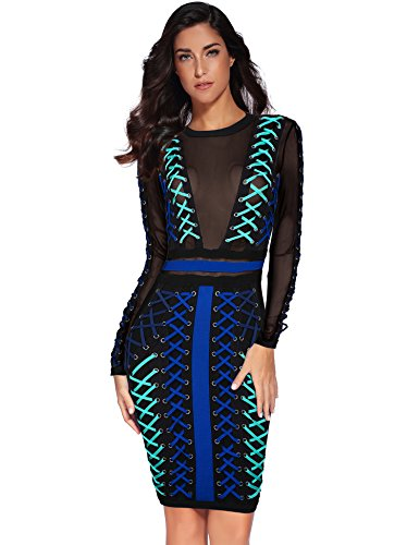 Meilun Women's Rayon Lace Up Mesh Long Sleeve Party Bandage Bodycon Dress Black M