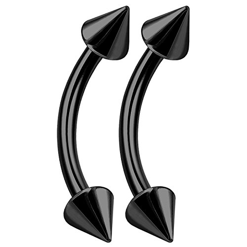 (bodyjewellery 2pcs 16g Curved Barbell Bar Black Titanium Cartilage Lip Helix Bar Stud Eyebrow Tragus Conch Earrings Rook Ring B2NCI)