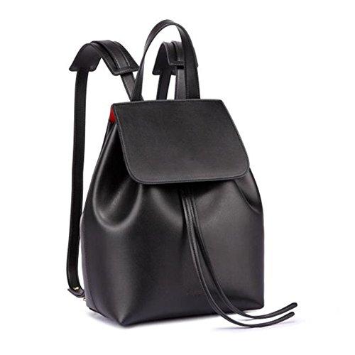 Lady Bucket Satchel Leather Soft for Bag Large Shoulders Girl Backpack L Black Drawstring Women SYw6qE86
