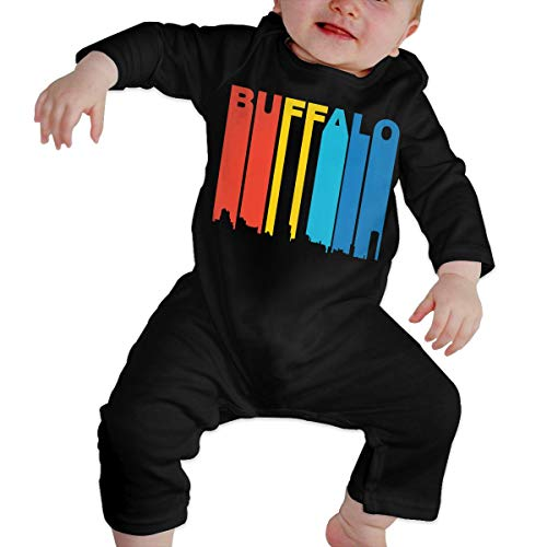 - Infant Baby Boys Girls Cotton Long Sleeve Vintage 1970s Buffalo New York Cityscape Climb Romper Funny Printed Romper Clothes Black