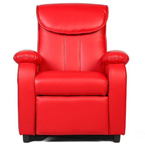GentleShower Padded PU Leather Kids Recliner with Overstuff Armrest/Headrest, Contemporary Children Reclining Sofa Upholstered Chair for Living Room Bedroom (Red) ()