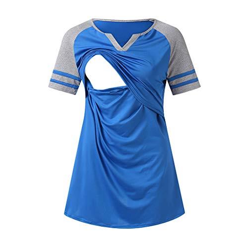 Toponly Women Maternity Nursing Breastfeeding Pregnant Short Sleeve Stripe Shirt Top Blouse -