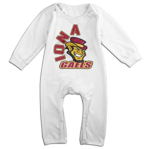 Iona Gaels Funny Long Sleeves Variety Baby Onesies Bodysuit For Babies White Size 12 Months