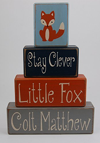 Block Fox (Stay Clever Little Fox Personalized Name - Fox - Woodland Nursery - Primitive Country Wood Stacking Sign Blocks-Birthday-Nursery Room-Baby Shower Home Decor)