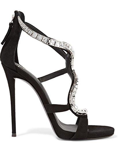 Party Sandals Suede Chain Beautiful Black Rhinestones Stiletto TDA Women's APwqZnO