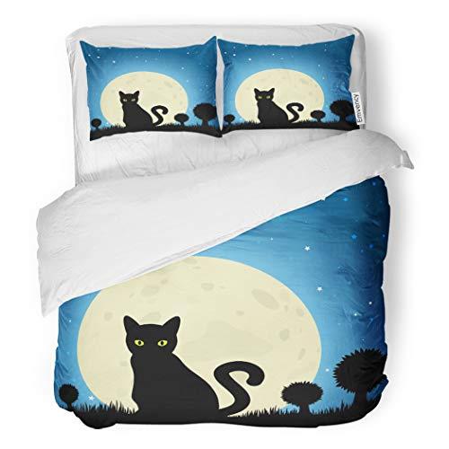 SanChic Duvet Cover Set Dark Halloween Black Cat Silhouette Against Moon Night Decorative Bedding Set with 2 Pillow Cases Full/Queen -