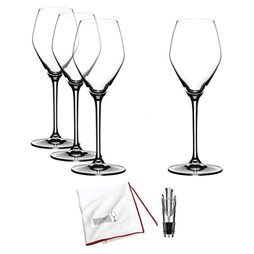 Riedel Extreme Crystal Champagne/Rose Wine Glass, Set of 4 Includes Wine Pourer and Polishing Cloth