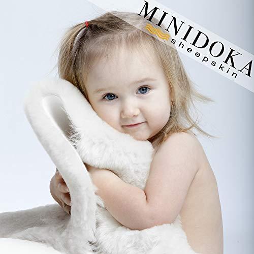 XL Australian Lambskin Baby Rug, Ivory Color, 100% Natural, 37+ inches Long, Premium Quality, Plush Silky Soft Wool, by Minidoka Sheepskin (Lamby Rug)