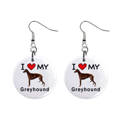 I Love My Greyhound Button Earrings