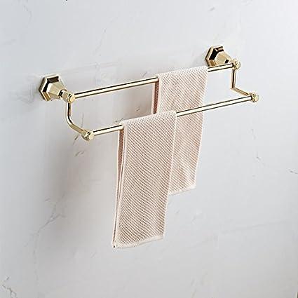 Lnxd Toalleros doble pared cromo negro porta toallas toallas de baño toallas de baño colgador de