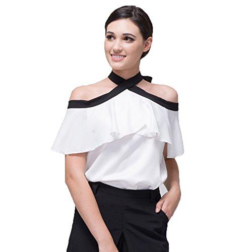 BELLA PHILOSOPHY Women's Chiffon Blouse Shirt With Halter Cami Off Shoulder Ruffles Sleeve (Bella Halter Top)