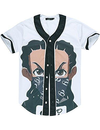 Unisex Hipster Ninja 3D Printed Short Sleeve Hip Hop Baseball Jersey Shirt / Street Wear Tops Z14-A1 (A1 Designer Wear)