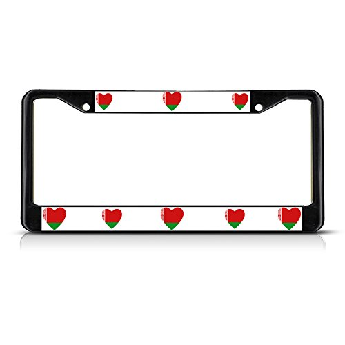 Love Heart Belarus Country Flag Black Metal License Plate Frame Tag Border (Cowgirl Bling License Plate Frame compare prices)