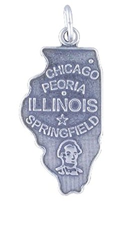 Sterling Silver ILLINOIS State Map Outline Word Charm