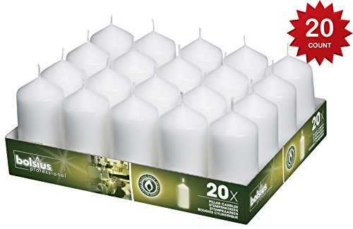 Bolsius Tray Of 20 White Pillar Candles Aprox. 2X4 Inches