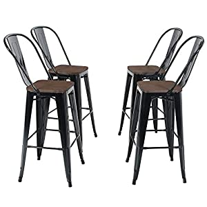 Sophia-William-Bar-Stool-30-High-Back-Set-of-4-Metal-Dining-Bar-Chairs-Wood-Seat-Stackable-Patio-Stool-Industrial-for-Kitchen-Bar-Indoor-Outdoor-Glossy-Black