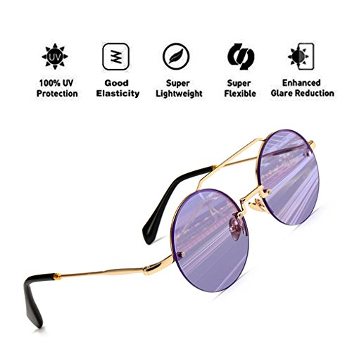 Hombres para Fashion HD Reflective Sunglasses Lens UV400 Protection ATNKE Frame Mujeres Púrpura Aviator Eyewear con PC Round Oversized xS4wXFq