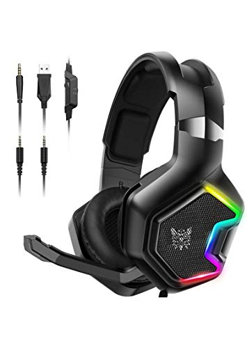 ONIKUMA PS4 Headset - Gaming Headset with 7.1 Surround Sound Pro Noise Canceling Gaming Headphones with Mic & RGB LED Light Compatible with PS4, Xbox One, Nintendo Switch, PC, PS3, Mac (Renewed)