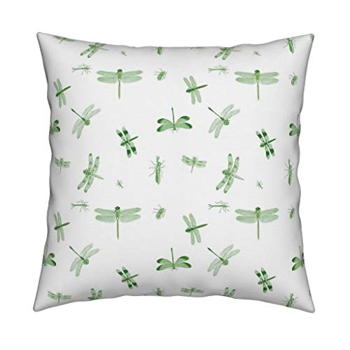Roostery Dragonflies Eco Canvas Throw Pillow Cover Toile Green Insects Vintage Biology Nature by Bettina Pedersen Cover w Optional Insert