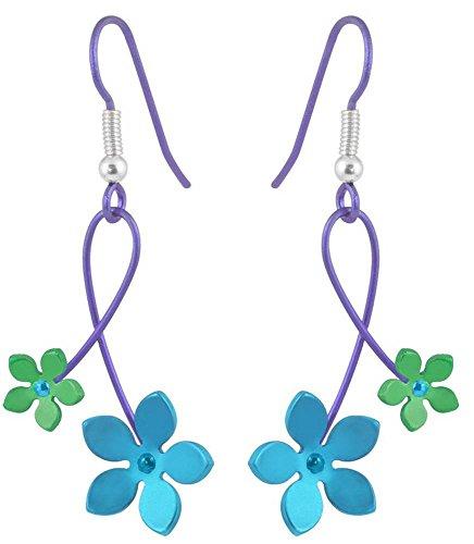 Ti2 Titanium Womens 30mm Double Drop Five Petal Flower Earrings - Green