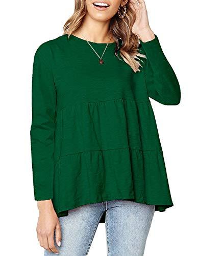 Long Sleeve Swing Casual Tops for Women Cute Tshirts Loose Ruffled T Shirt Plain Long Tee Shirts