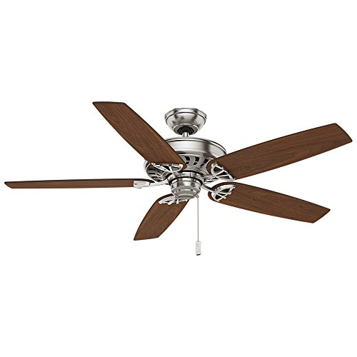 Casablanca 54023 Concentra Gallery 54-Inch 5-Blade Single Light Ceiling Fan, Brushed Nickel with Walnut/Burnt Walnut Blades and Cased White Glass Bowl Light by Casablanca (Image #2)