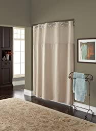 Hookless RBH82MY418 Fabric Shower Curtain with Built in Liner  - Taupe Diamond Pique