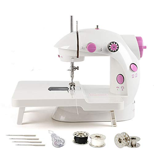 Mini Sewing Machine, Portable Adjustable 2-Speed Double Thread Sewing Machine with Needle Protector, Extension Table – Perfect for Child, Beginner