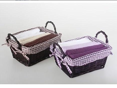 Juego de 2 cestas con 6 toallas de mano, 2 colores, 100% algodón: Amazon.es: Hogar