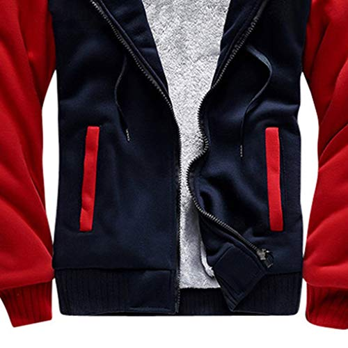 Windy5 Hommes Velours Hiver Bleu Sweat Vêtements Outwear Zipper De Poche Automne Capuche Sweats Rouge À AErEZx