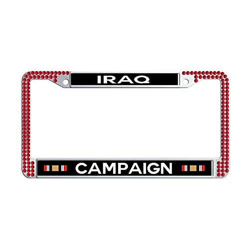 Toanovelty Iraq Campaign Ribbon Glitter Crystal License Plate Frame, Waterproof Red Bling Popular Car Auto Tag Frame 6' x 12' in