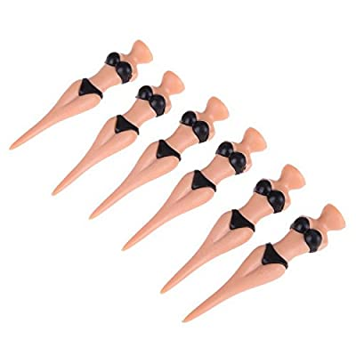 6pc/Set Golf Tees Plastic Sexy Bikini Lady Golf Tees Castle Tee Height Control 78mm Golf Accessories.