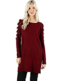 Women's Relax Fit Cutout Ladder Shoulder Tunic Sweater