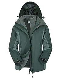 Mountain Warehouse Storm 3 in 1 Womens Waterproof Jacket -Spring Coat Khaki 18