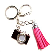 1x Grade A Rhinestone Bling Black camera and Fushia Leather Loop Keychain and Purse Fashion Decoration