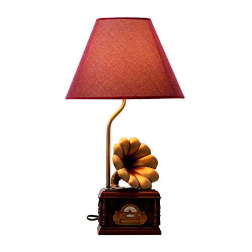HALORI Retro Resin Engraving Table Lamp 20th Century Phonograph Shape Design E27 Adjustable Light Bedside Lamp MAX40 Watt Cloth Lampshade - Century Lamp Desk 20th