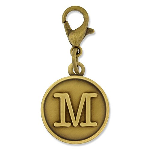 PinMart's Antique Gold Letter M Alphabet Initial Charm ()