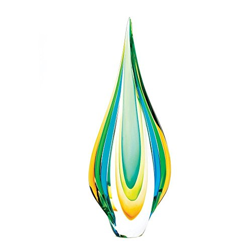 Accent Plus Decorative Glass Centerpiece, Modern Colored Cool Flame Statue Art Glass Display ()