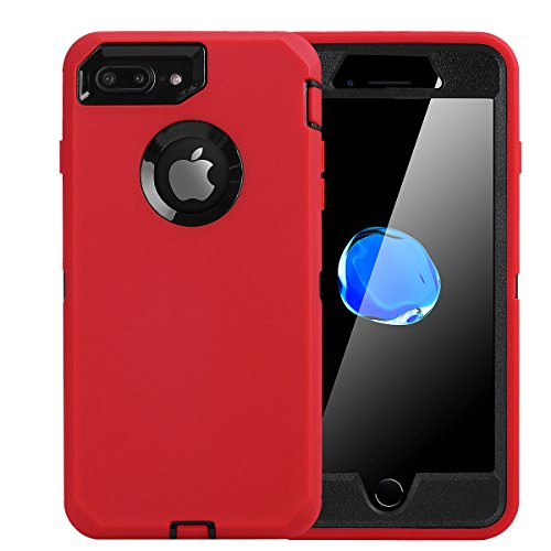 iPhone 8 Plus/ 7 Plus Case, Daul Layer Armor [Full Body] [Heavy Duty Protection ] Shock Reduction/Bumper Case with Built in Screen Protector for Apple iPhone 8 Plus/7 Plus (Black/Red)