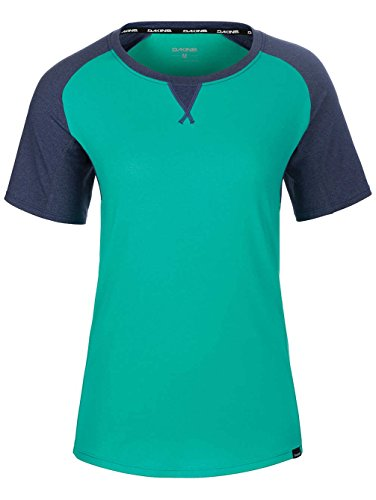 Dakine Women's Xena Short Sleeve Bike Jersey, Aqua Green, Crown Blue, S