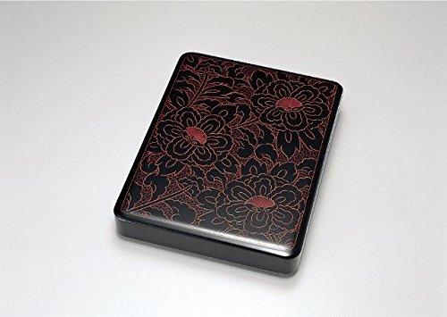 越前漆器 歳時記 【G4325-07】 牡丹唐草 硯箱 化粧箱 25.8×19.7×4.3cm B00XPIS5WY