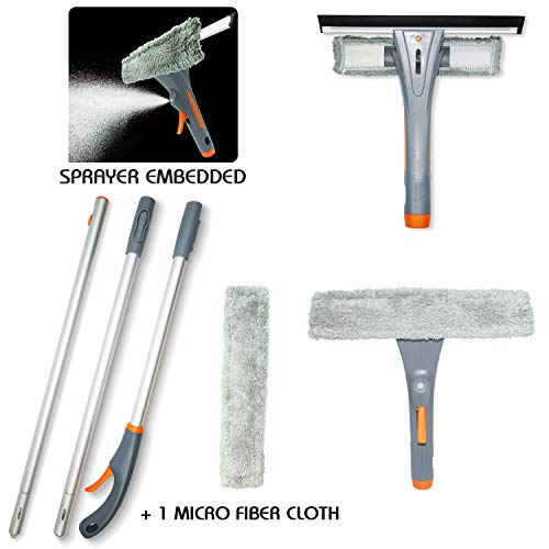 """69"""" Telescopic Window Squeegee Cleaning Set, 3 in 1 Window Cleaning Tools, 3 Section 69"""" Extension Pole, Window Washing Equipment Microfiber Cloth, Squeegee Window Cleaner with Long Handle Car"""